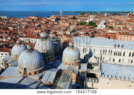View Of The Domes Of St Mark's Basilica In Venice, Italy