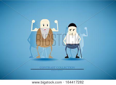 Vector represent contrast of elder who seek healthy and adult who seek unhealthy in cartoon