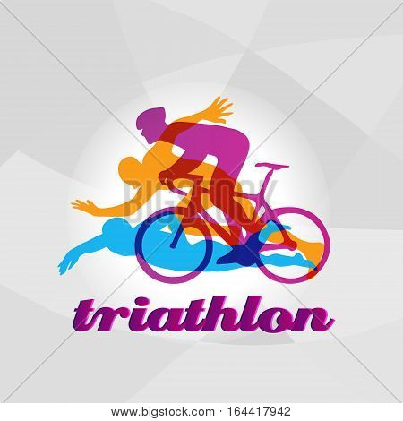 Color flat logo triathlon. Vector figures triathletes on a white background. Swimming, cycling and running symbol. Eps10