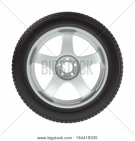 the wheel with a new tire on a white background, 3D illustration