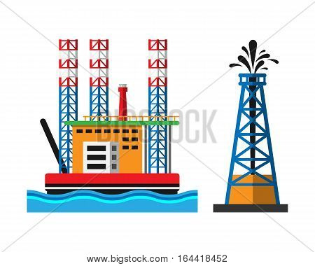 Oil industry production station extracting cartoon icons vector illustration. Energy processing platform. Petroleum drilling technology factory design.