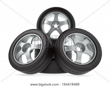 wheels with new tires on white background, 3d illustration