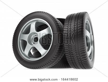 New car wheel with winter tire isolated on white background, 3d illustration
