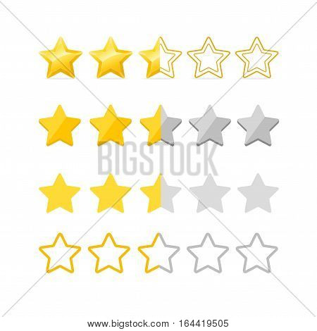 Rating Stars Set Gold, Silver and Half Type for Classification Level Business or Quality. Vector illustration