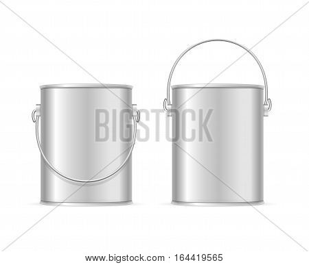 Steel Can Bucket Set Realistic Template Empty Blank. Element Of Equipment Housework or Repair. Vector illustration
