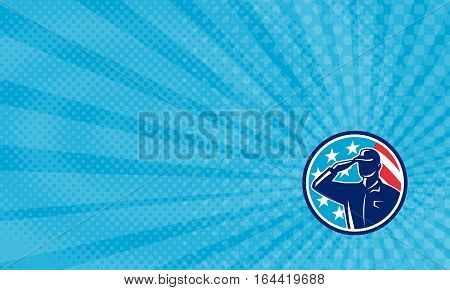 Business card showing Illustration of an american soldier Veteran serviceman silhouette saluting set inside circle with usa flag stars and stripes in the background done in retro style.