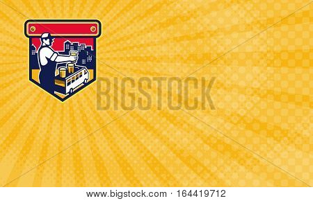 Business card showing Illustration of bartender holding beer with beer flight on top of van and cityscape buildings city tour in the background viewed from the side set inside shield in retro style. business card template