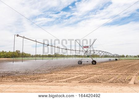 JACOBSDAL SOUTH AFRICA - DECEMBER 24 2016: A center pivot irrigation system in a corn field using rotator style pivot applicator sprinklers near Jacobsdal in the Free State Province of South Africa