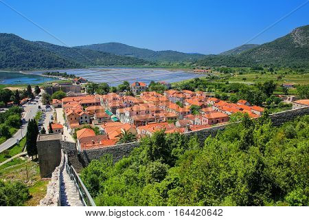 View Pof Ston Town And Its Defensive Walls, Peljesac Peninsula, Croatia