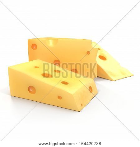 A wedge of cheese with holes on white background. 3D illustration