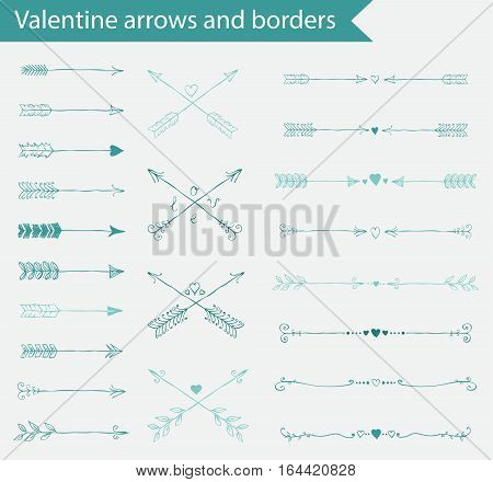 Hand drawn valentine vintage arrows and dividers, vector illustration