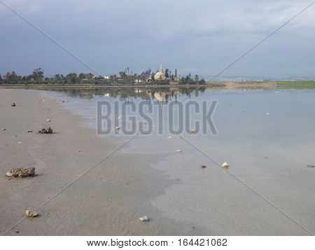 Larnaka Salt Lake In Cyprus With Water
