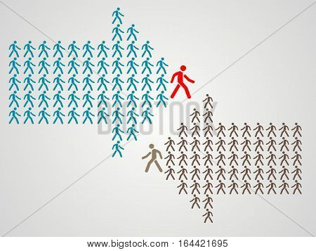 Arrow shows the way - The crowd of workers follows the team leader