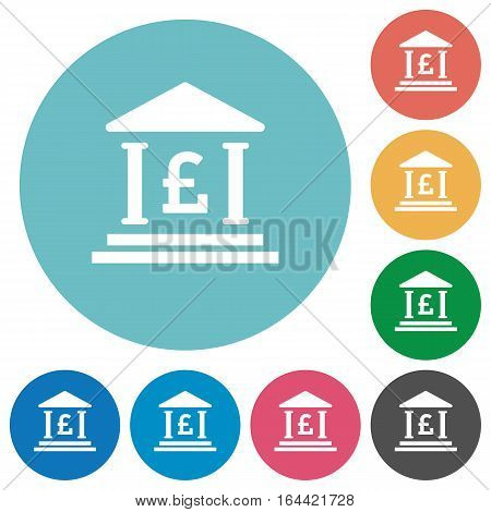 Pound bank office icons in color glass sphere buttons with shadows