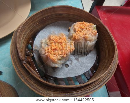 The picture is close-up to chinese food dimsum