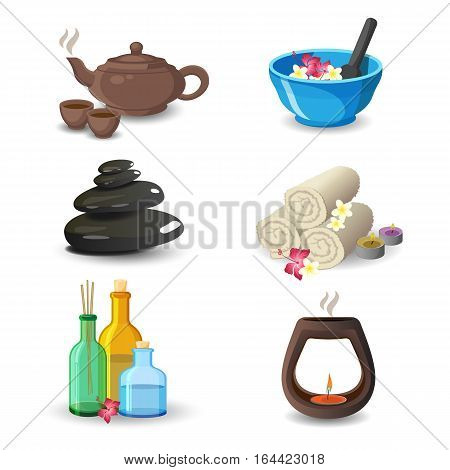 Aromatherapy and relaxation spa elements collection. Vector illustration of brown kettle and cups, blue bowl, white rolled towels with flowers, bottles and decorative candle and black medical stones.