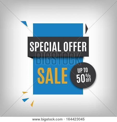 Sale banner design. Blue discount poster. Vector eps10