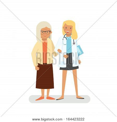 Old lady with doctor. Pensioner and doctor. Care for the elderly vector illustration. Old woman and young doctor woman on white background.