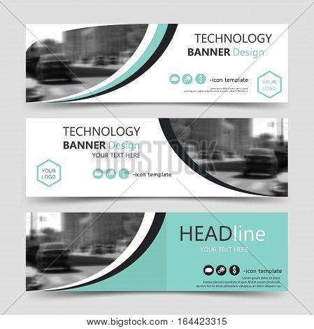 Set of horizontal banner templates. Vector corporate identity ribbon banners website business header design. Collection of technology background layouts eps10