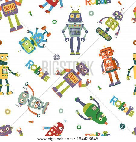 Seamless pattern of vector robots in cartoon style in a white background