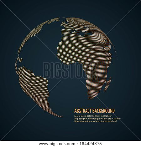 Digital world globe, cyberspace universe earth. data international, globalization vector concept. Dotted globe illustration