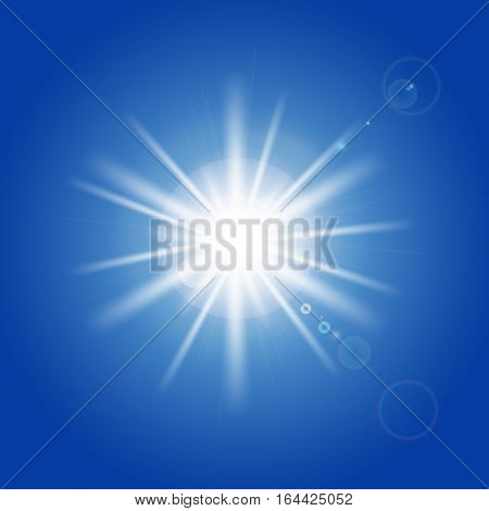 Sun rays and light effects on blue sky. Vector illustration