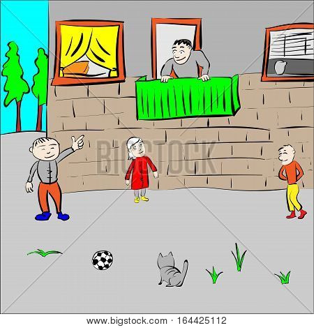Children play in the yard on build background vector