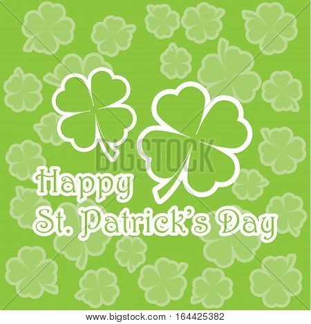 St. Patrick's Day illustration with shamrock leaves on leaves background suitable for St. Patrick's Day greeting card, invitation card, and wallpaper