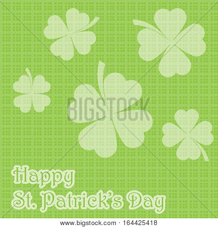 St. Patrick's Day illustration with shamrock leaves on rectangle background suitable for St. Patrick's Day greeting card, invitation card, and wallpaper