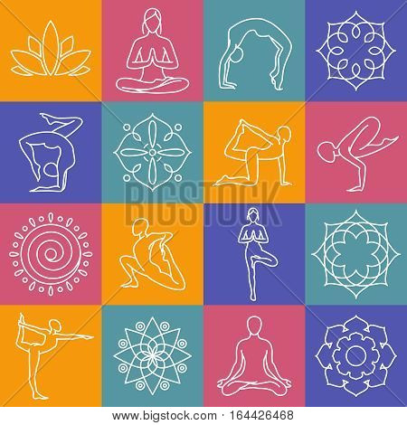 Yoga, body poses vector symbols for pilates studio, meditation class. Body position for yoga, set of sign for yoga gym illustration