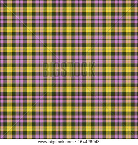 Colorful seamless tartan pattern in eyecatching colors of pink black and yellow endless texture for e.g. handkerchief dishtowel or any other clothes
