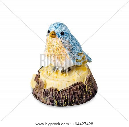 Blue ceramic bird toy isolated on white background Clipping path.