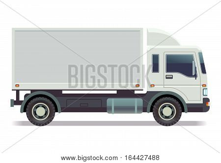 Small truck, van isolated on white vector illustration. Truck car with container, truck van for transportation