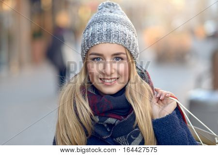 Gorgeous Young Woman Out Christmas Shopping