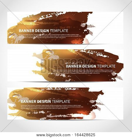 Set of trendy bronze banners template or website headers with watercolor imitation background. Advertising banners with beige ink spots. Design for Christmas cards, header, background