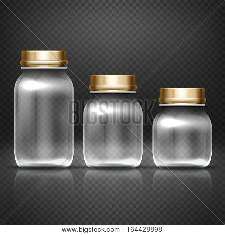 Empty glass jars with lods for grandma kitchen canning preserves vector set. Glass bottle for jam, illustration of empty bottle for conservation