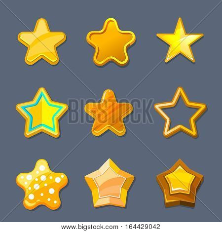 Glossy gold cartoon star vector icons for game, ui, app design. Illustration of stars set for game interface, golden star for design mobile app