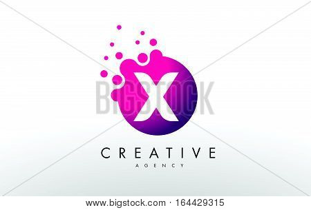 Dots Letter X Logo. X Letter Design Vector with Dots.