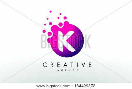 Dots Letter K Logo. K Letter Design Vector with Dots.