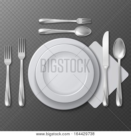 Realistic empty round plate, porcelain dish, steel fork, spoon and knife on table vector illustration. Table service etiquette plate with forks and spoons