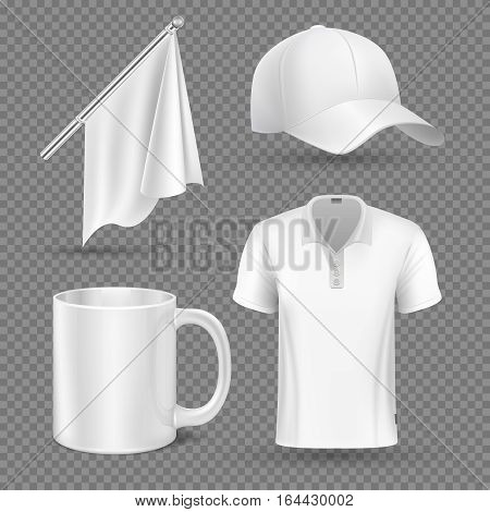 Promotional items, vector set mockup. Promotional accessory group flag cap and cup, illustration promotional corporate t-shirt