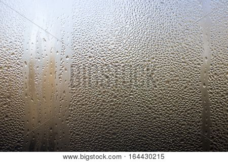 Condensation Water Drops On Window Texture Background. Dew Drop On Window Glass.