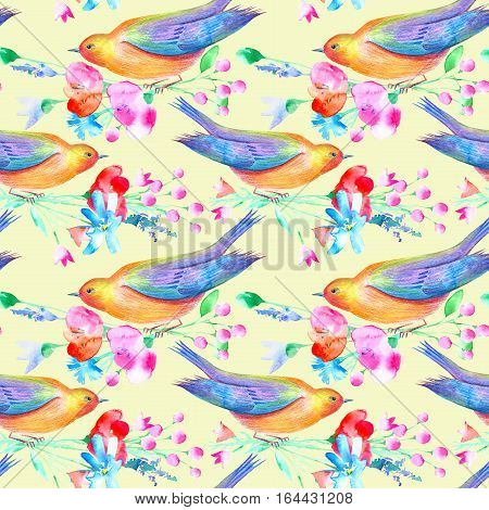 Seamless pattern of a bird and flowers. Poppy, bluebell, lavender, cornflower, berry, chamomile and daisy. Watercolor hand drawn illustration.Yellow background.
