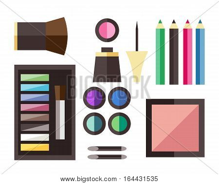 Makeup icons perfume mascara care brushes and comb faced eyeshadow. Glamour accessory. Vector set beauty fashion professional facial cosmetic icon.