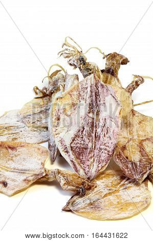 Dried squid islated on white background seafood.