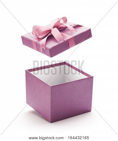 Purple open gift box isolated on white background - Clipping path included