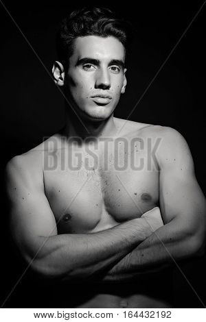 Masculine Male Model With Naked Torso