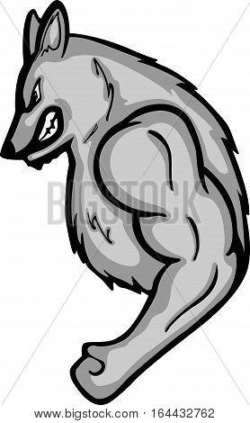 Strong Wolf Cartoon Animal Character. Vector Illustration.