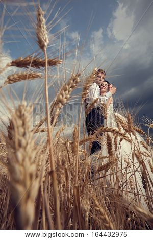 Happy Inlove Just Married Couple In Wheat Field