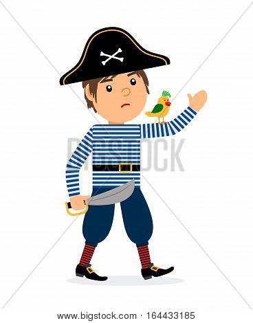 Pirate walking cartoon character with parrot and sword. Vector icon on white background